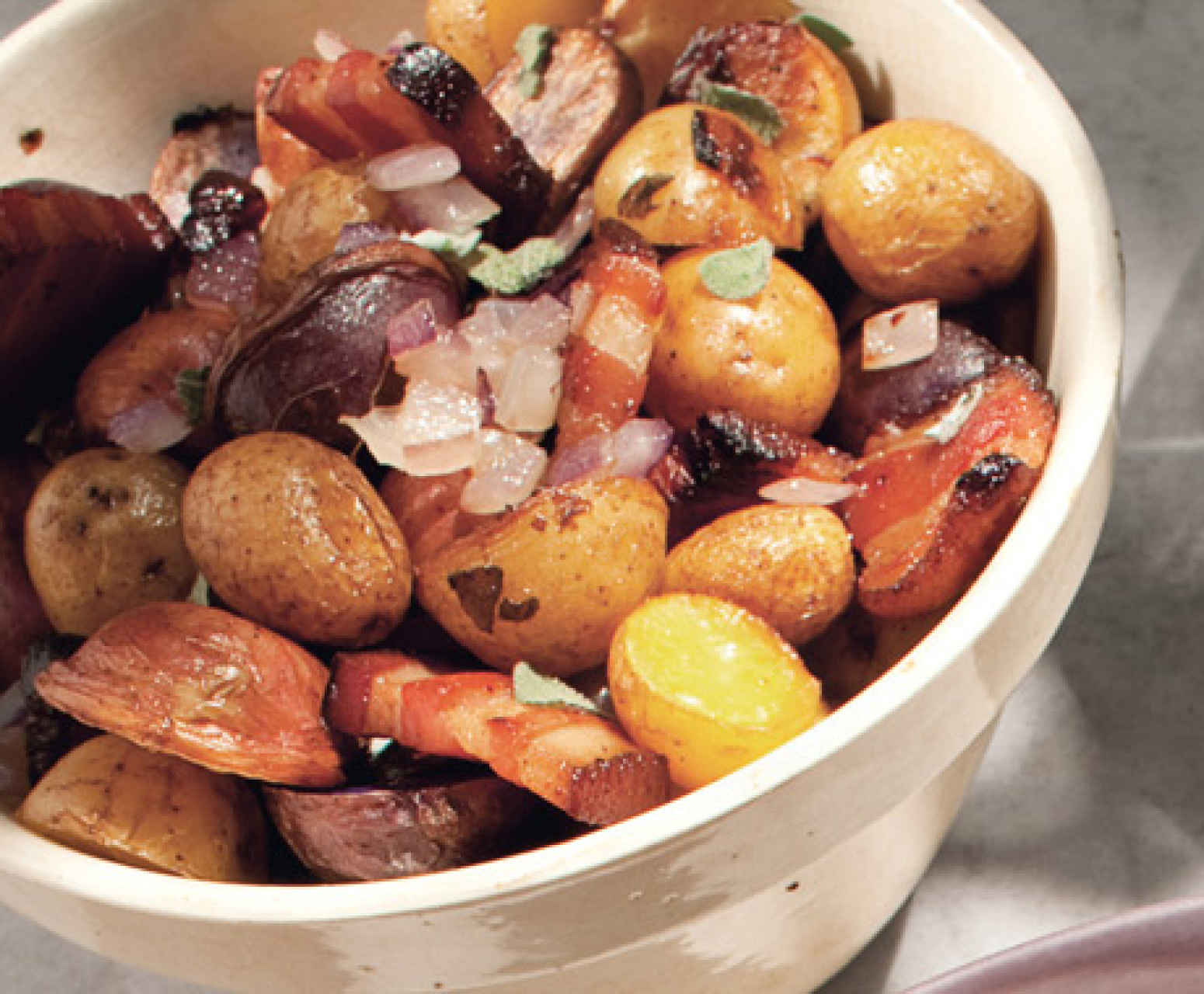 Roasted Potatoes with Bacon, Onions, and Sage Recipe | Epicurious.com ...