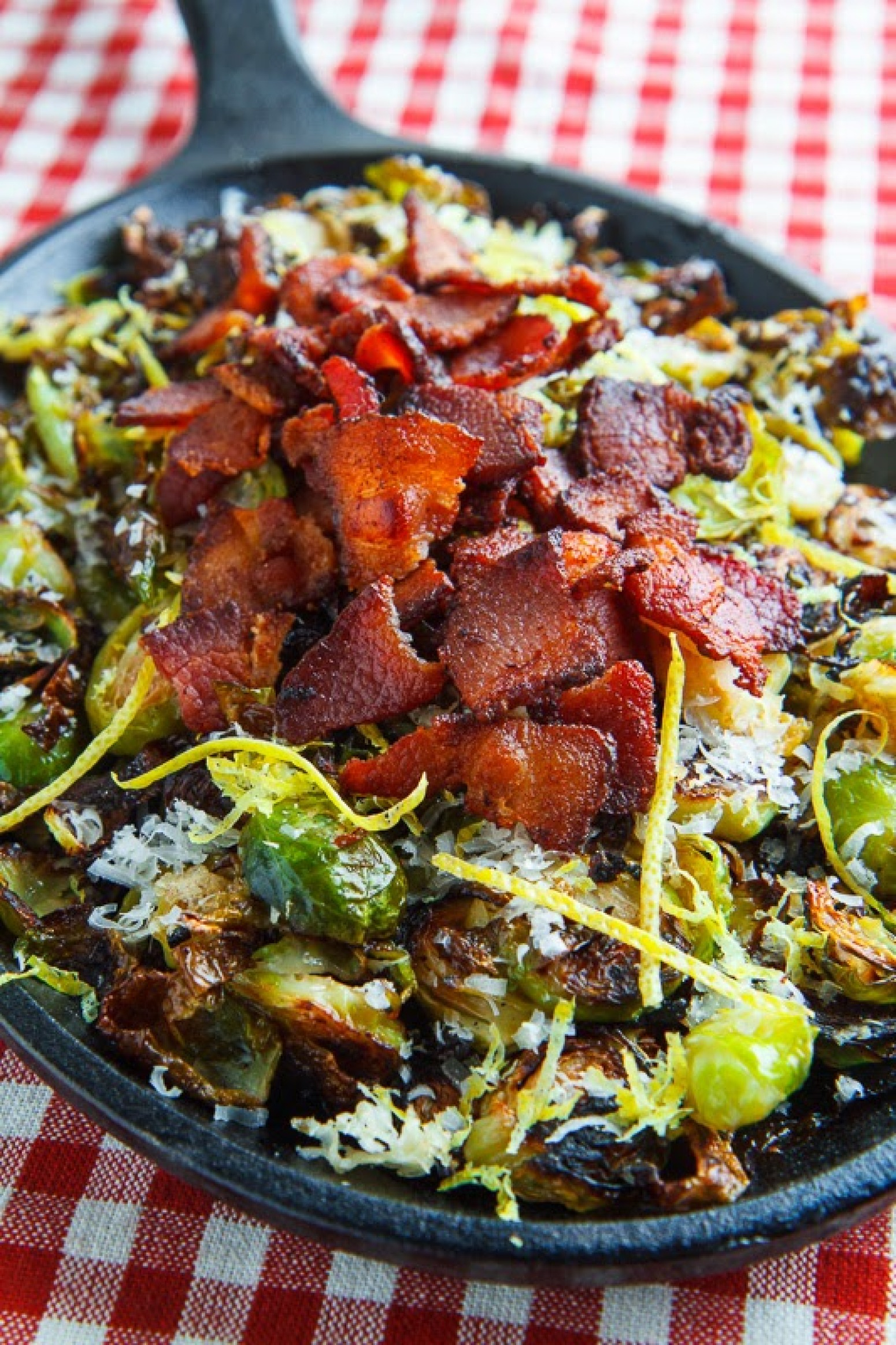 Parmesan Roasted Brussels Sprouts with Double Smoked Bacon Recipe ...