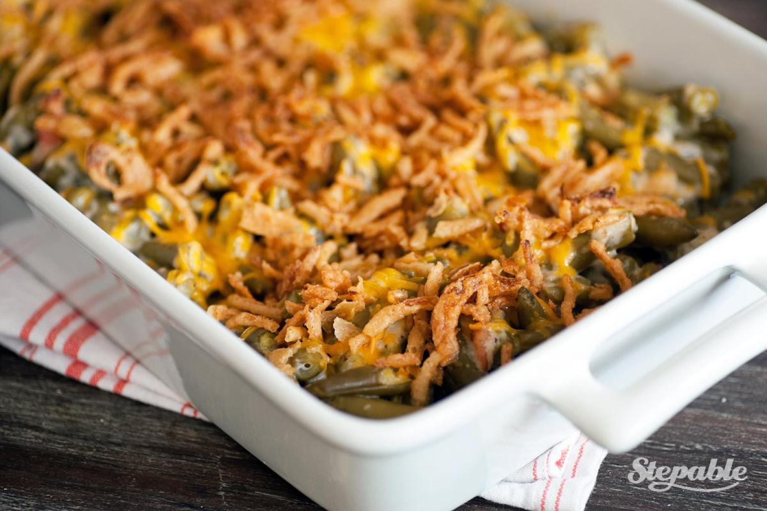 Cheesy Green Bean Casserole with Bacon Recipe | Just A ...