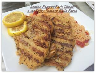 Lemon Pepper Pork Chops over Spicy Tomato Chile Pasta Recipe