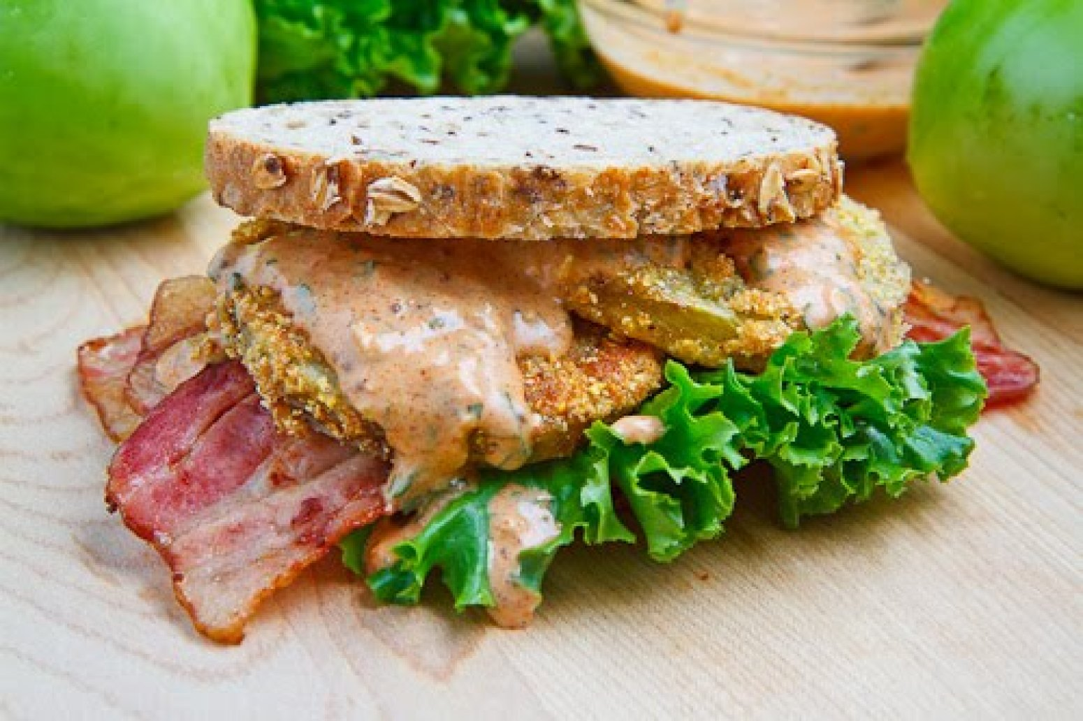 Fried Green Tomato BLT with Remoulade Recipe | Just A ...
