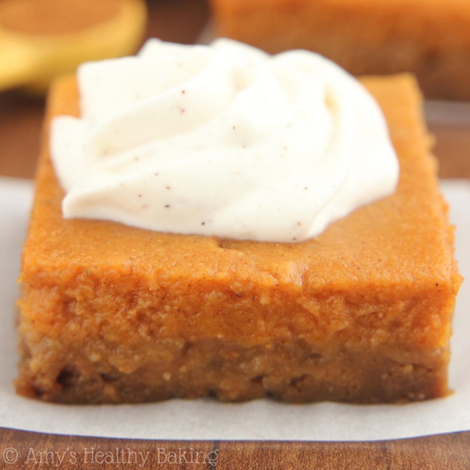 Pumpkin Pie Bars with Greek Yogurt Whipped Cream Recipe | Just A Pinch ...