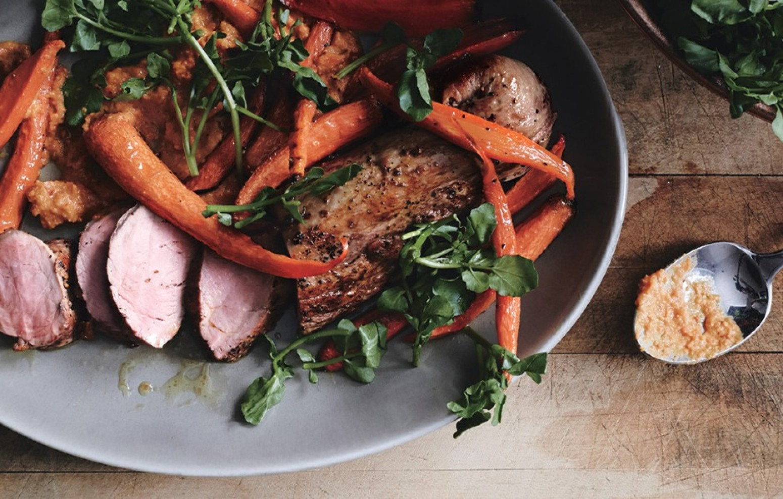 Roast Pork Tenderloin with Carrot Romesco Recipe | Just A ...