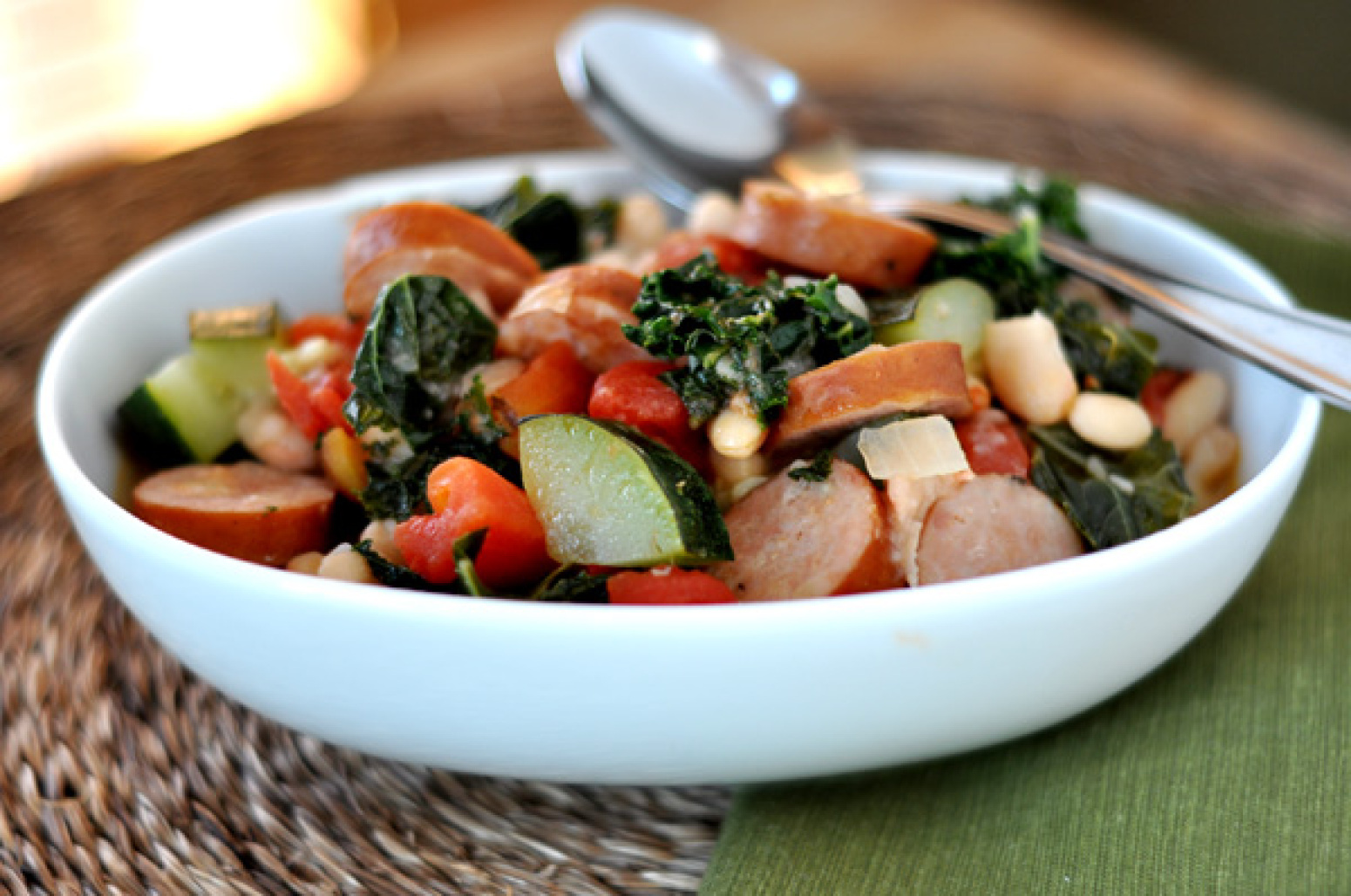 White Bean and Sausage Ragout with Tomatoes Kale and Zucchini Recipe 2 ...