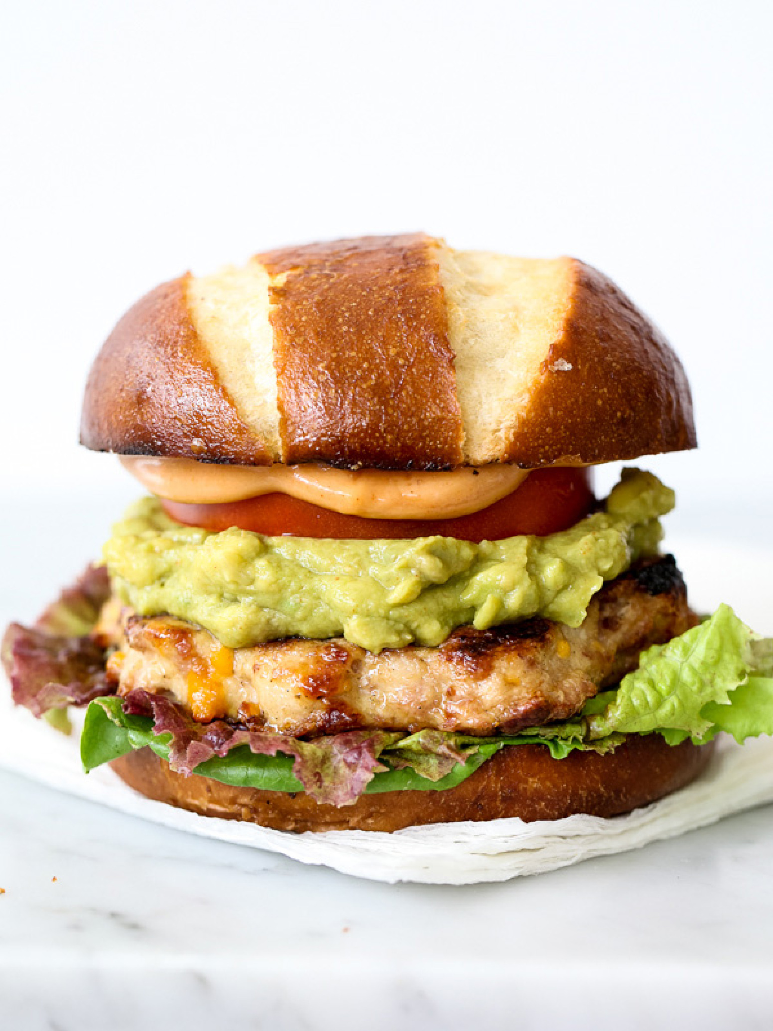 Bacon Cheddar Chicken Burgers with Guacamole and BBQ Mayo Recipe ...