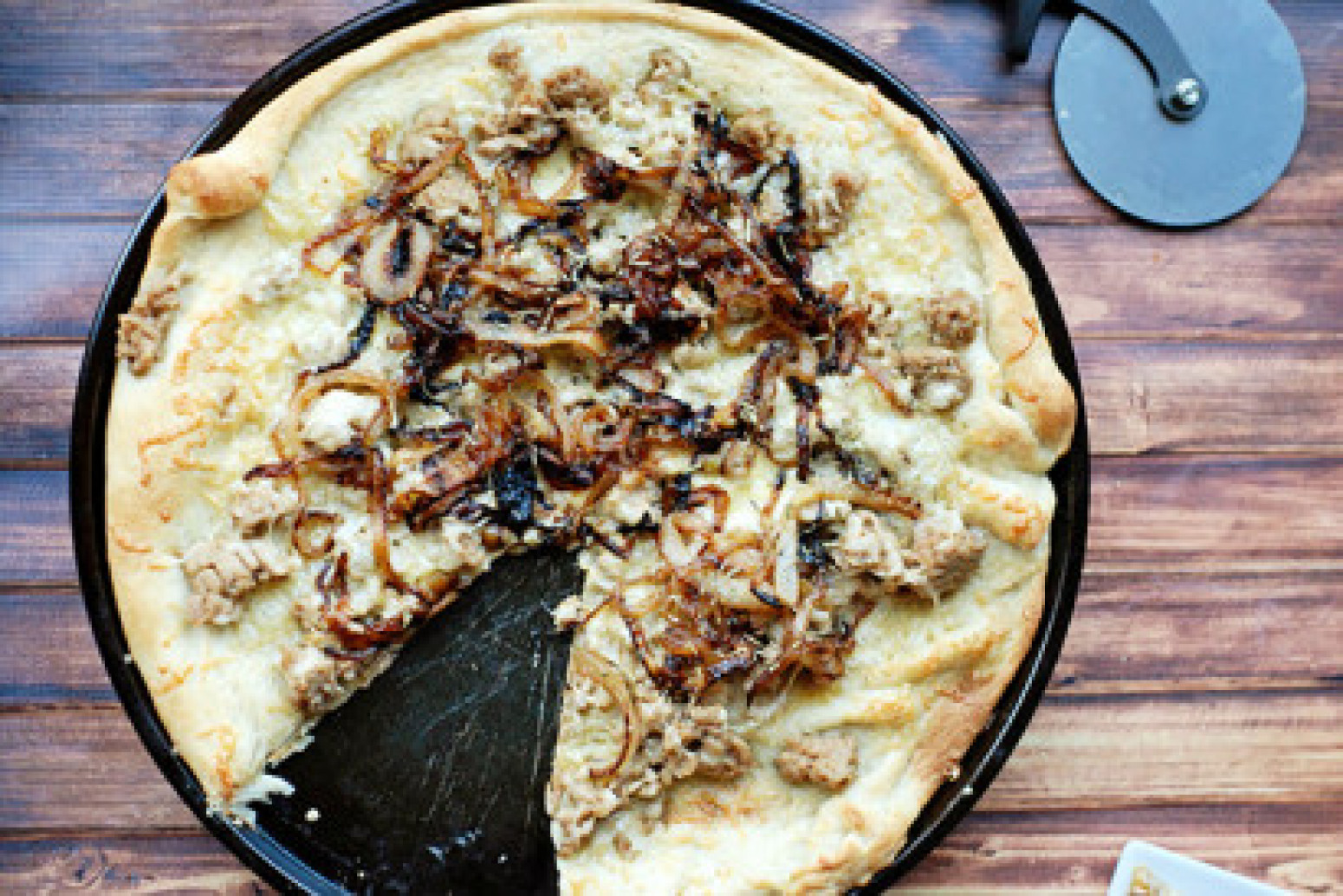 Caramelized Onion and Sausage Pizza Recipe | Just A Pinch ...