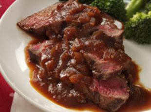 Sirloin with Chili-Beer BBQ Sauce Recipe