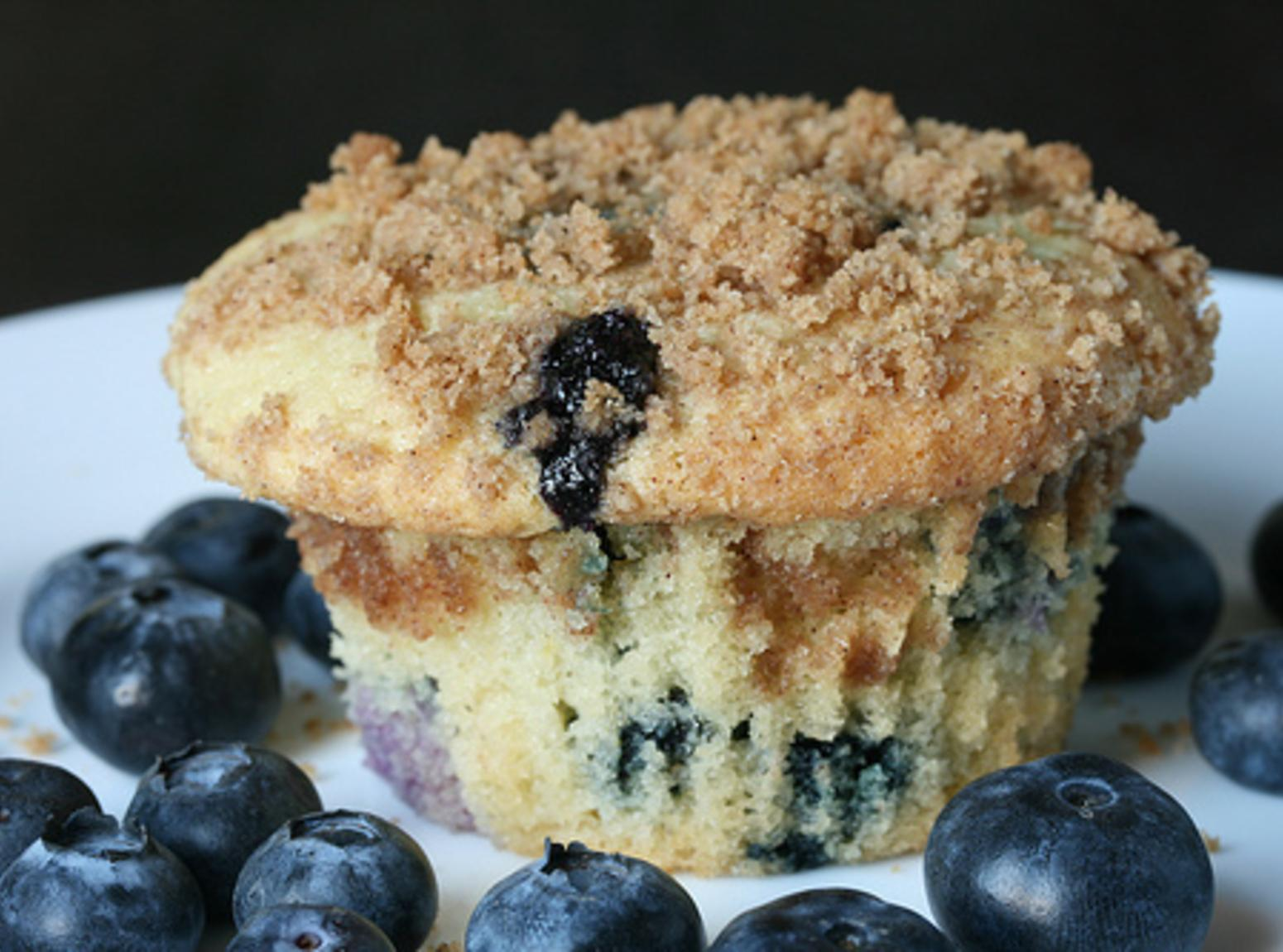 Blueberry Muffin Cupcakes with a Streusel Topping and Vanilla Icing Recipe