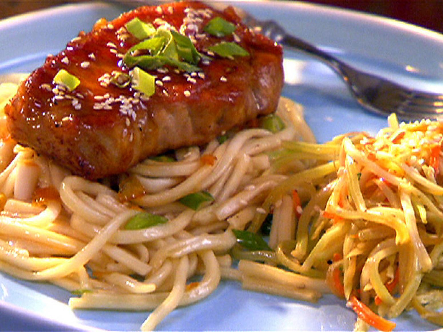 Pork Chops with Orange Soy Glaze and Udon Noodles Recipe