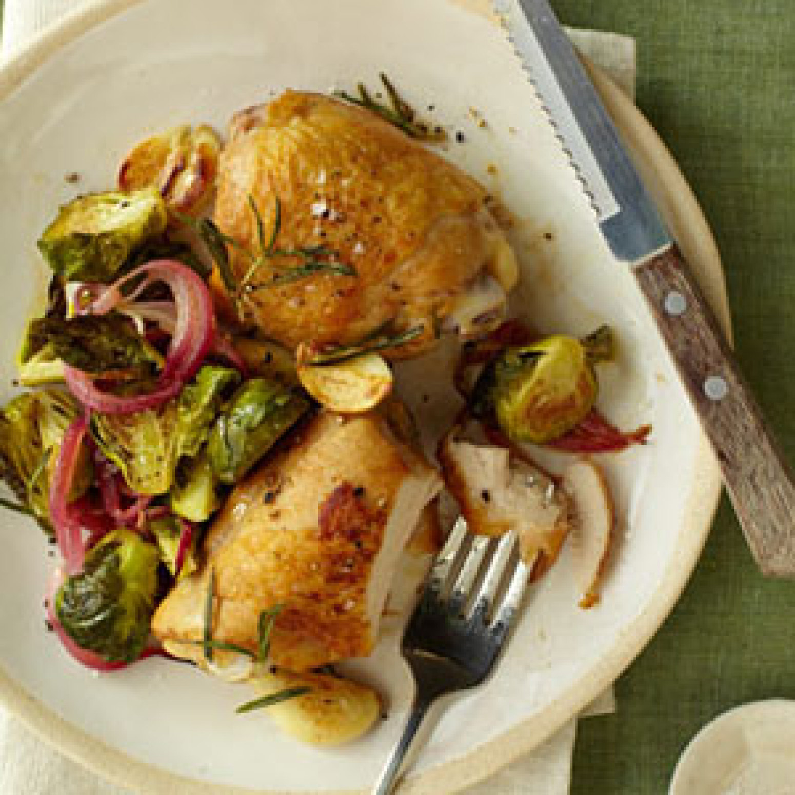 Crispy Chicken Thighs with Roasted Brussels Sprouts and Red Onions ...