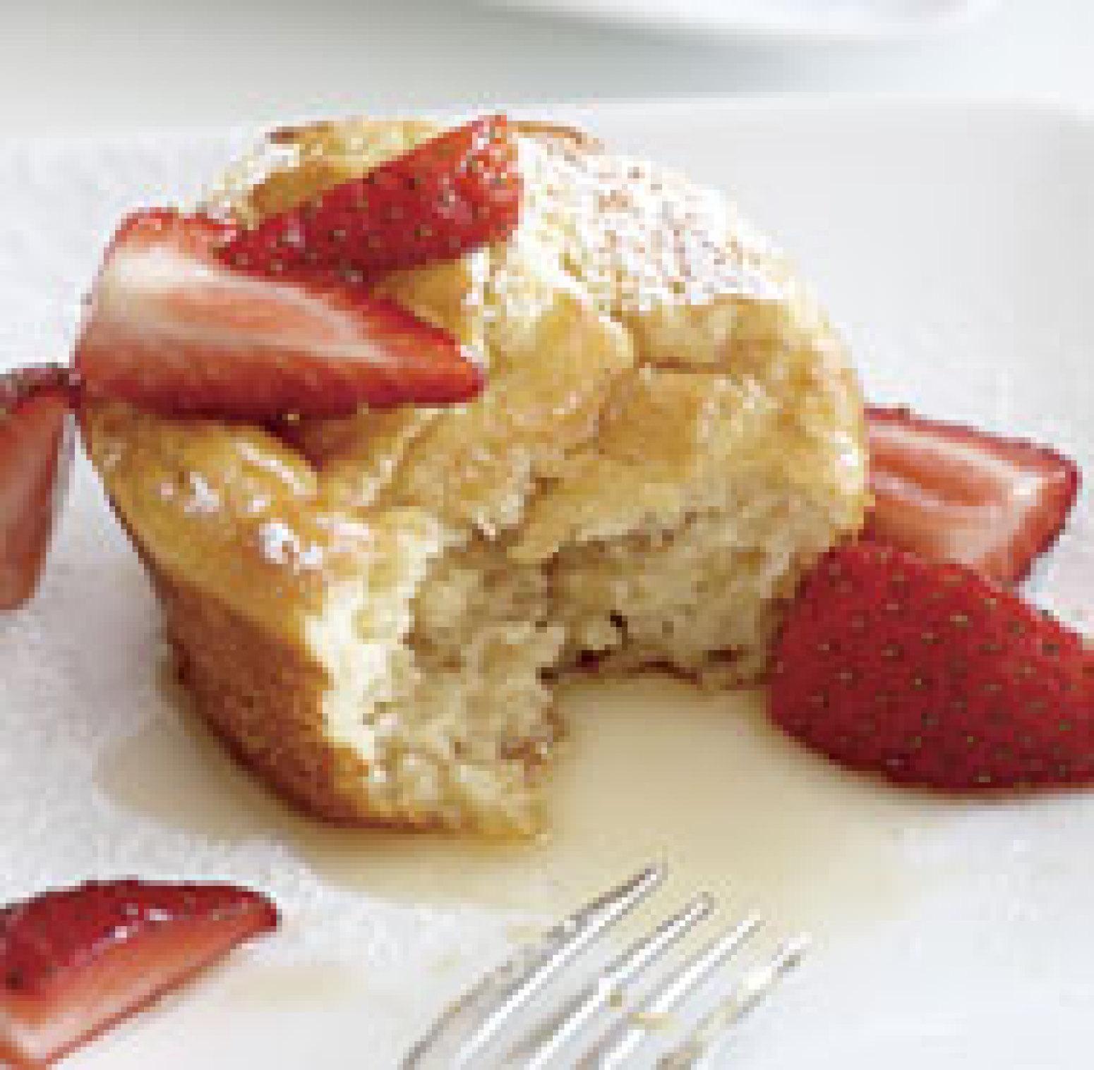 Pancake Souffl Muffins with StrawberryMaple Syrup Recipe | Just A ...