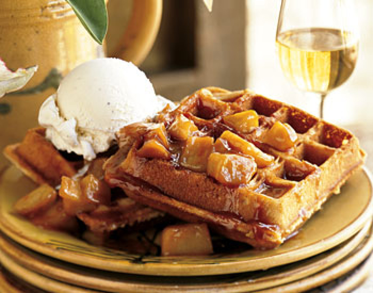 Spiced Waffles with Caramelized Apples Recipe | Epicurious.com | Just ...