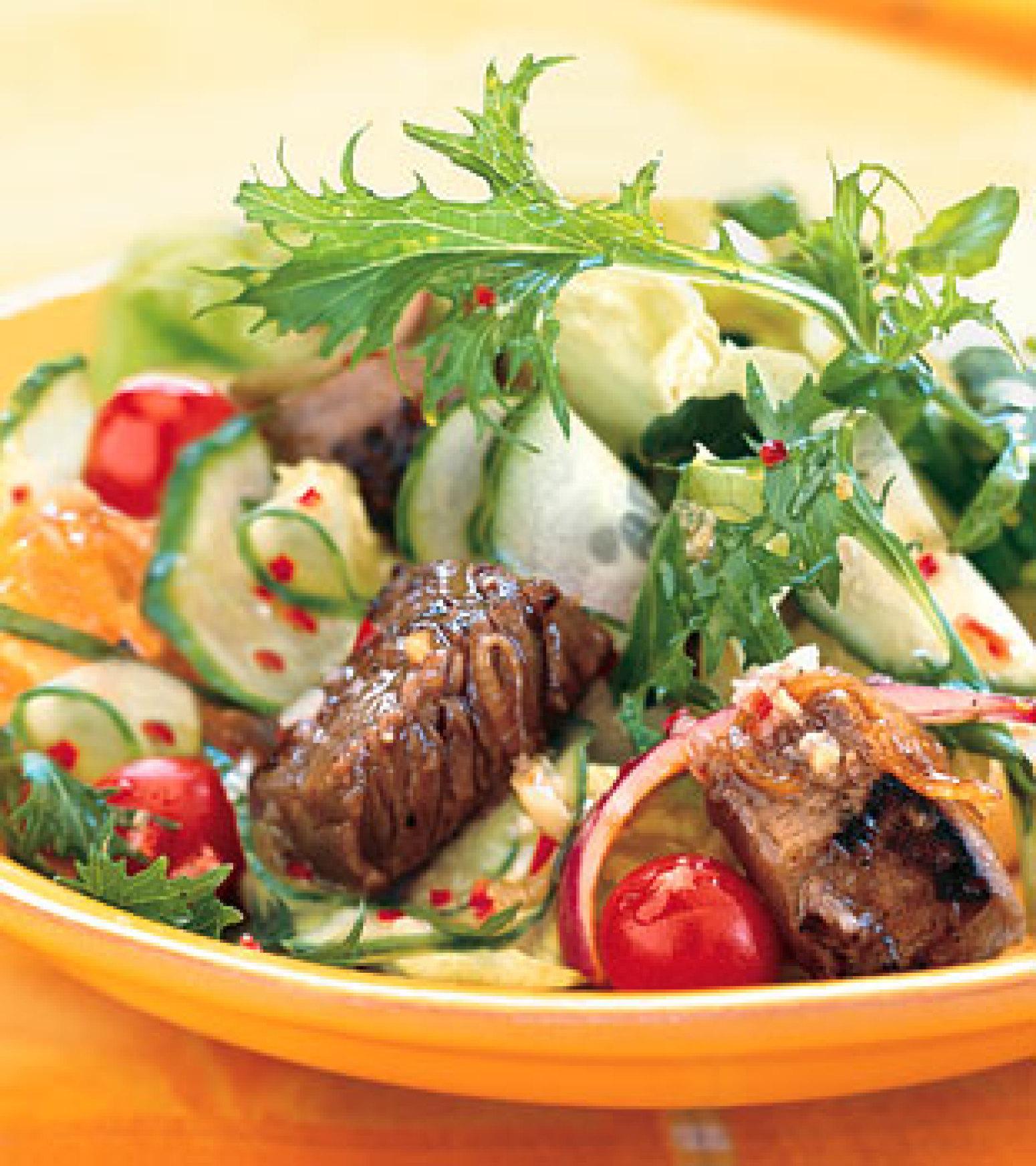 Summer Steak Salad with Ginger-Lime Dressing Recipe | Epicurious.com ...