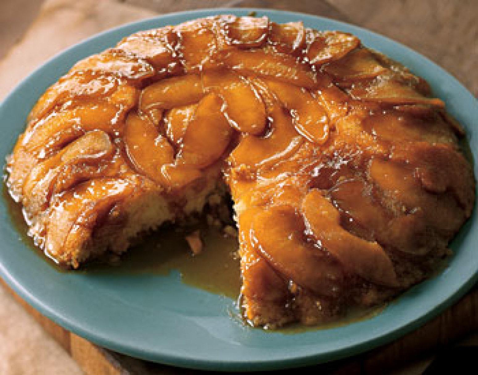 Upside-Down Butterscotch Apple Sour Cream Cake Recipe | Epicurious.com