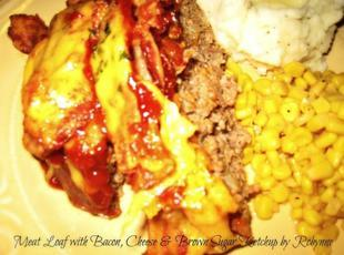 Meat Loaf with Bacon, Cheese and Brown Sugar Ketchup Glaze~Robynne Recipe