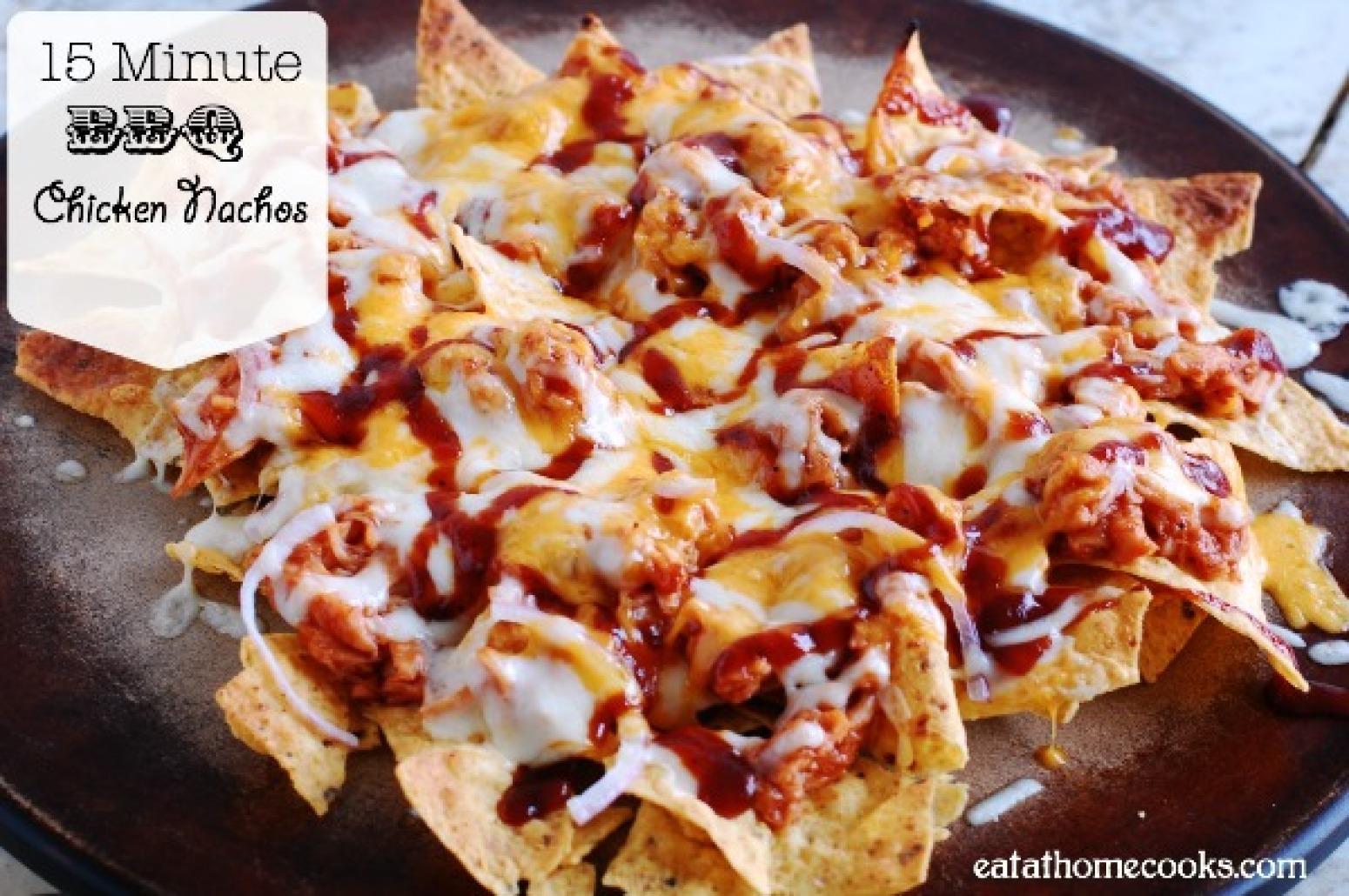15 Minute BBQ Chicken Nachos Recipe | Just A Pinch Recipes