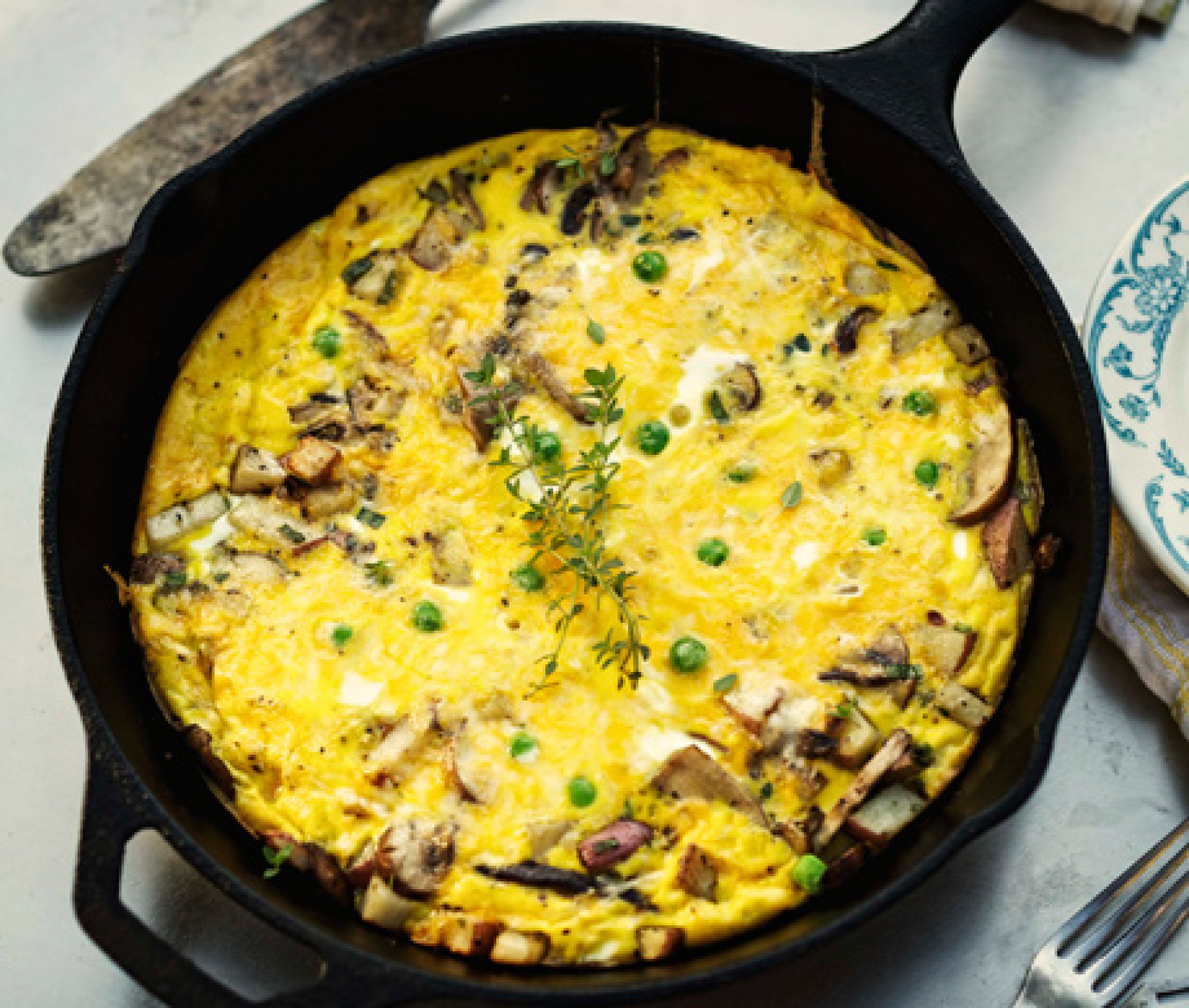 Wild Mushroom Frittata with Cheddar, Green Onions, and Peas Recipe ...