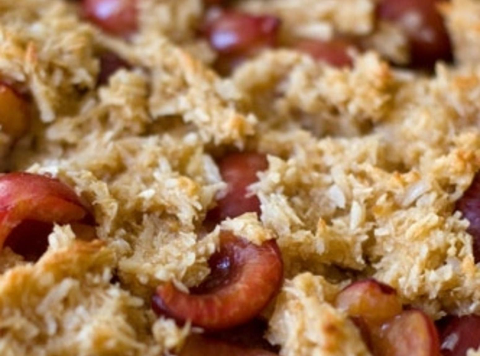 Macaroon Cherry Tart Recipe | Just A Pinch Recipes