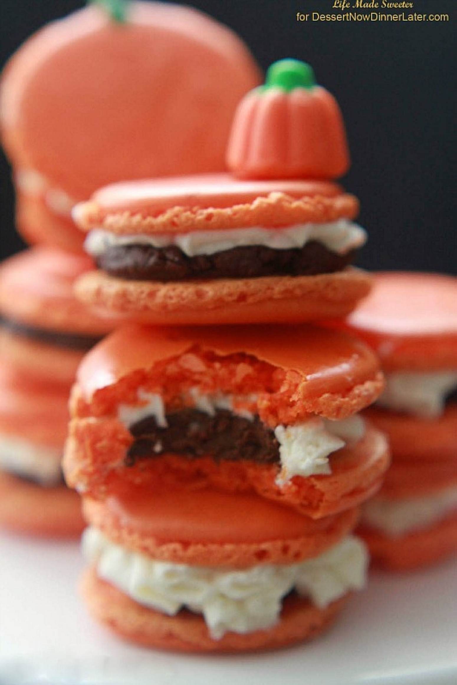 Pumpkin Buttercream Filled Macarons with Pumpkin Spice Dark Chocolate ...