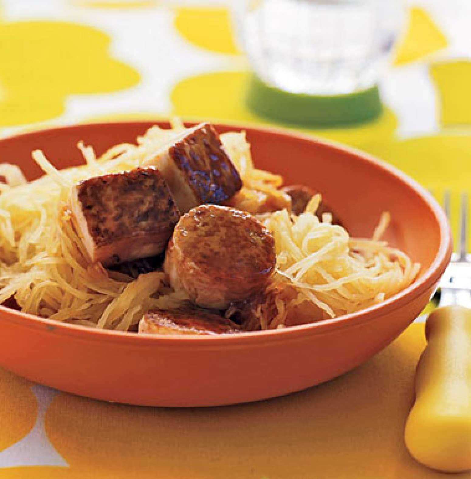 Maple-Glazed Tofu with Spaghetti Squash Recipe | Epicurious.com | Just ...