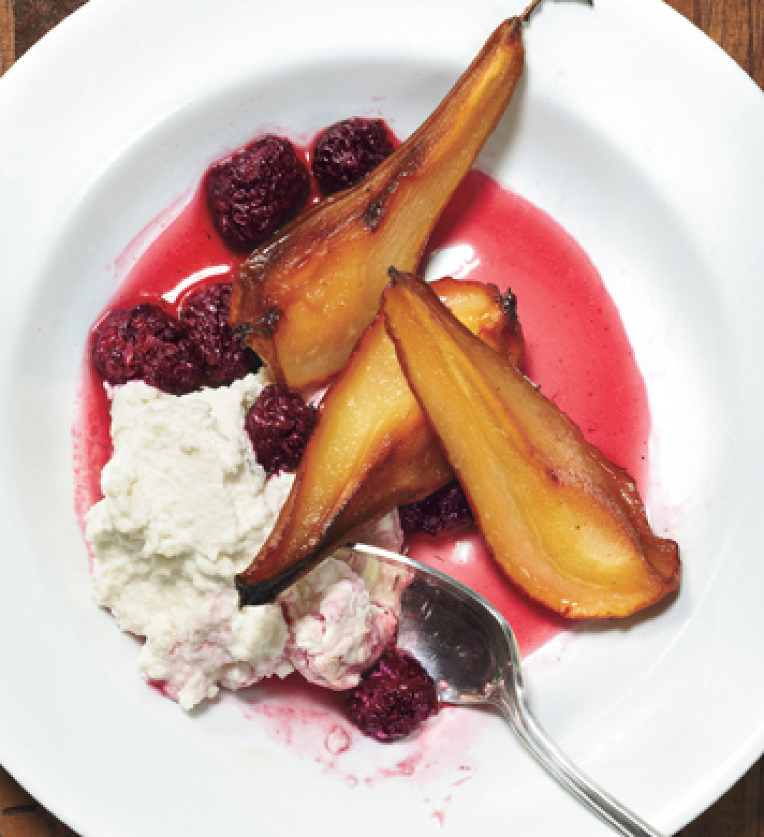 Roasted Pears With Blackberries Ricotta And Lavender Sugar