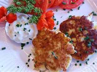 Crab Fritters with Onion Cilantro Cream Recipe