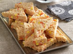 Candy Corn Marshmallow Crispy Treats Recipe