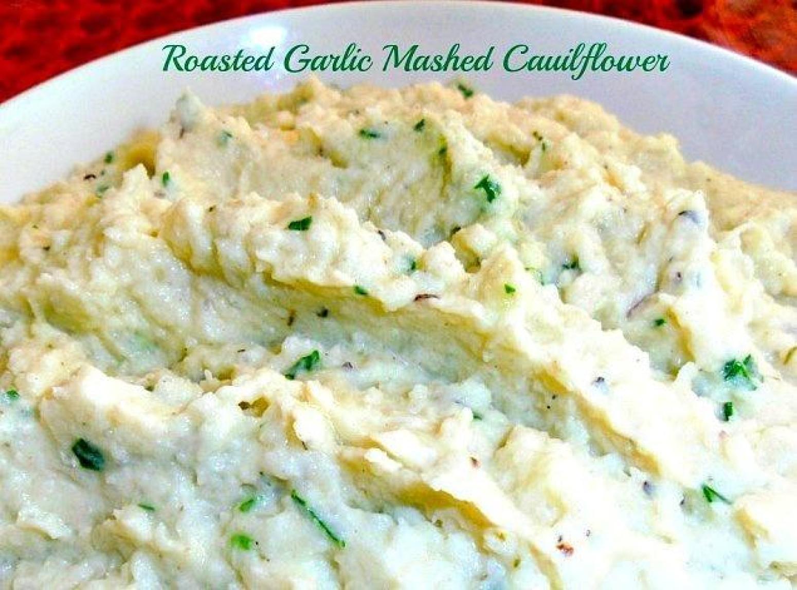 Roasted Garlic Mashed Cauliflower Recipe | Just A Pinch Recipes