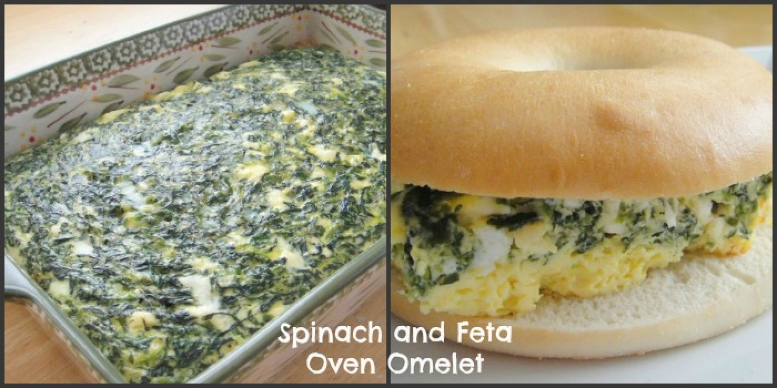 Spinach and Feta Oven Omelet Breakfast Bagel Sandwich Recipe | Just A ...
