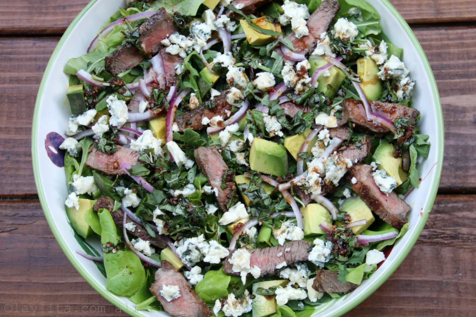 Steak salad with blue cheese, avocado and basil balsamic dressing ...