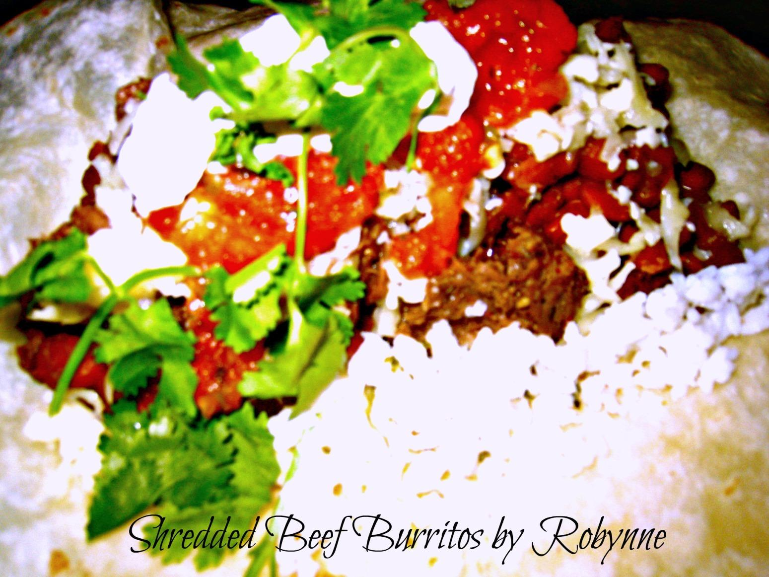 Spicy Shredded Beef Burritos~Robynne Recipe