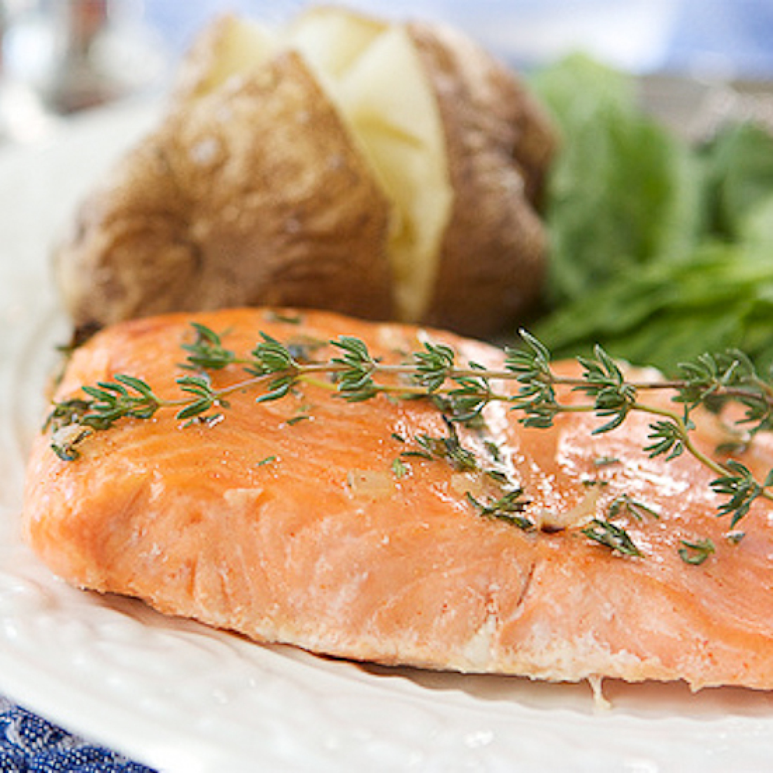 Baked Trout (or Salmon) with Honey-Thyme Glaze Recipe | Just A Pinch ...