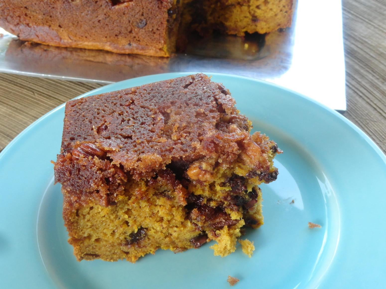 Pecan Crusted Pumpkin loaf (with Rum & Chocolate Chips)