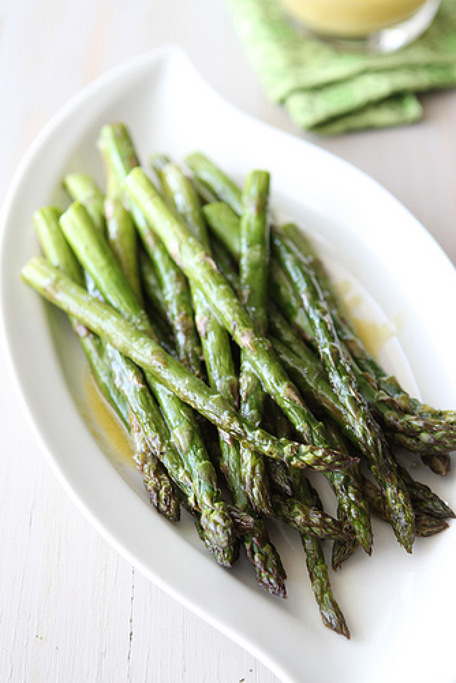 Roasted Asparagus with Miso Lime Dressing Recipe | Just A Pinch ...