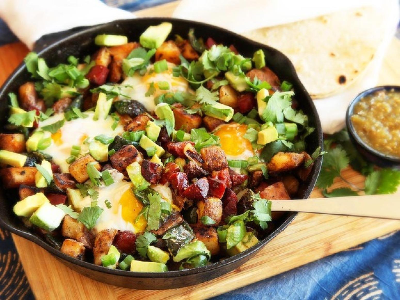 Crispy Potato, Chorizo, and Green Chili Hash With Avocado and Eggs ...