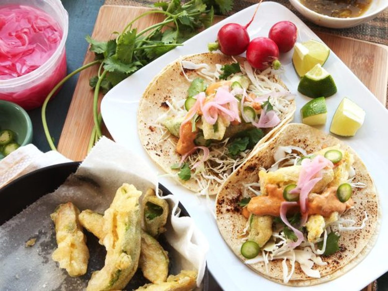 Avocado Tacos With Chipotle Cream, Cabbage, and Pickled Red Onions ...