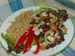 Tilapia Ceviche and Black Bean Salad with Red Bull Rice Recipe