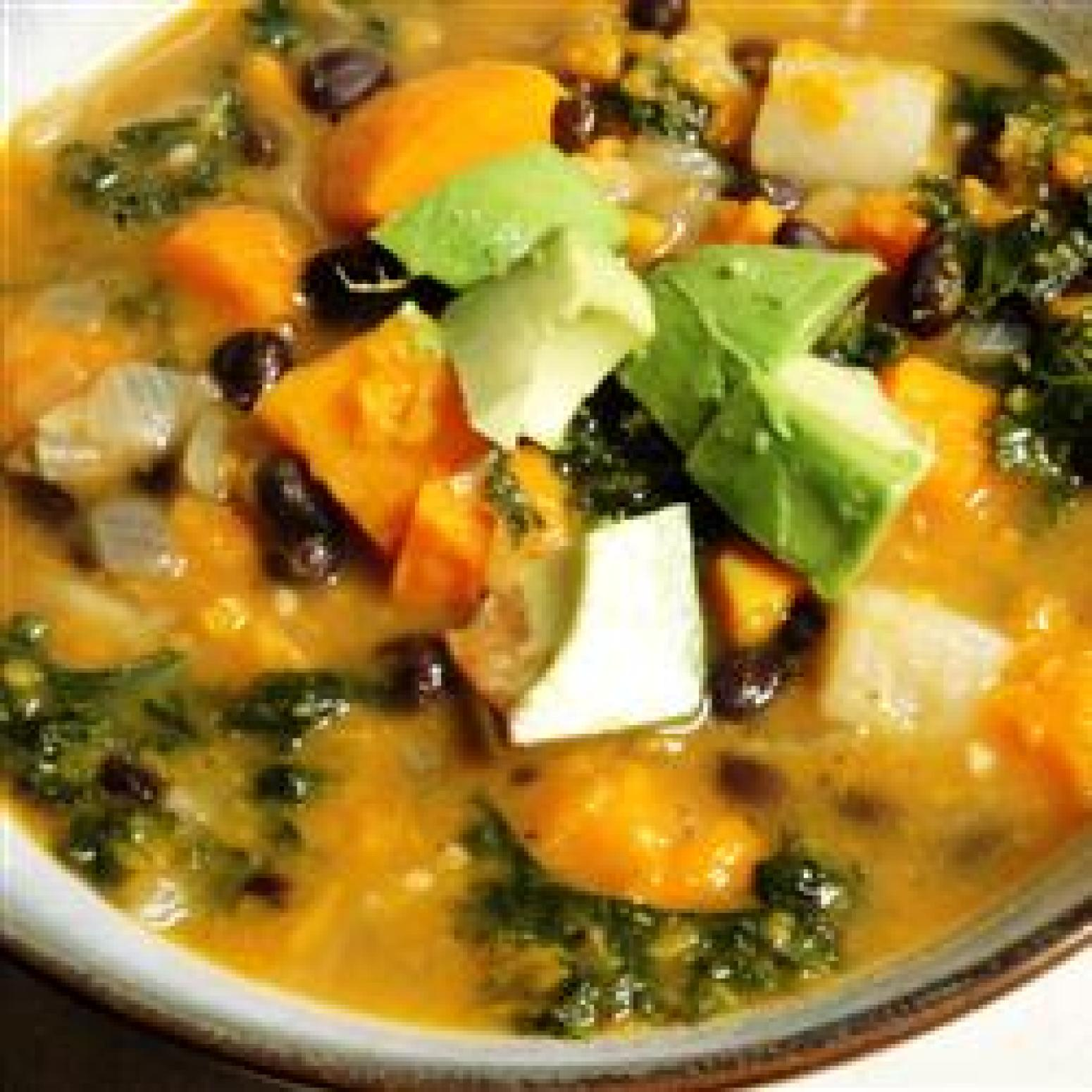 Roasted Vegetable and Kale Soup Recipe | Just A Pinch Recipes