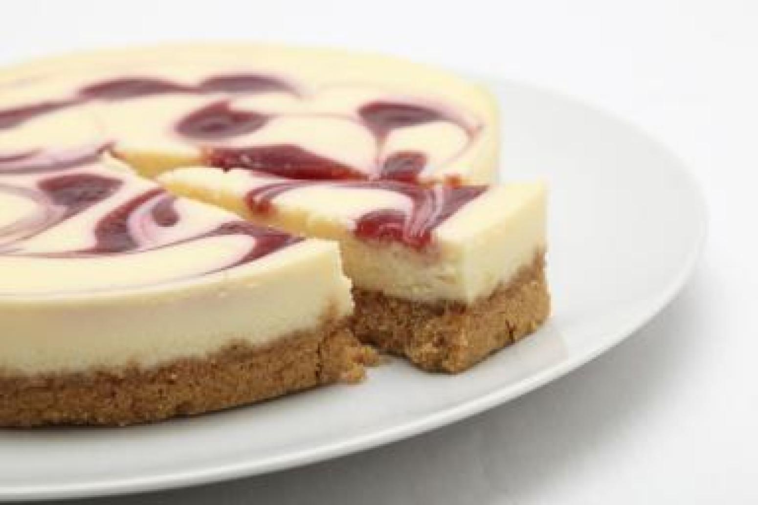 Raspberry Swirl Cheesecake Recipe 4 | Just A Pinch Recipes
