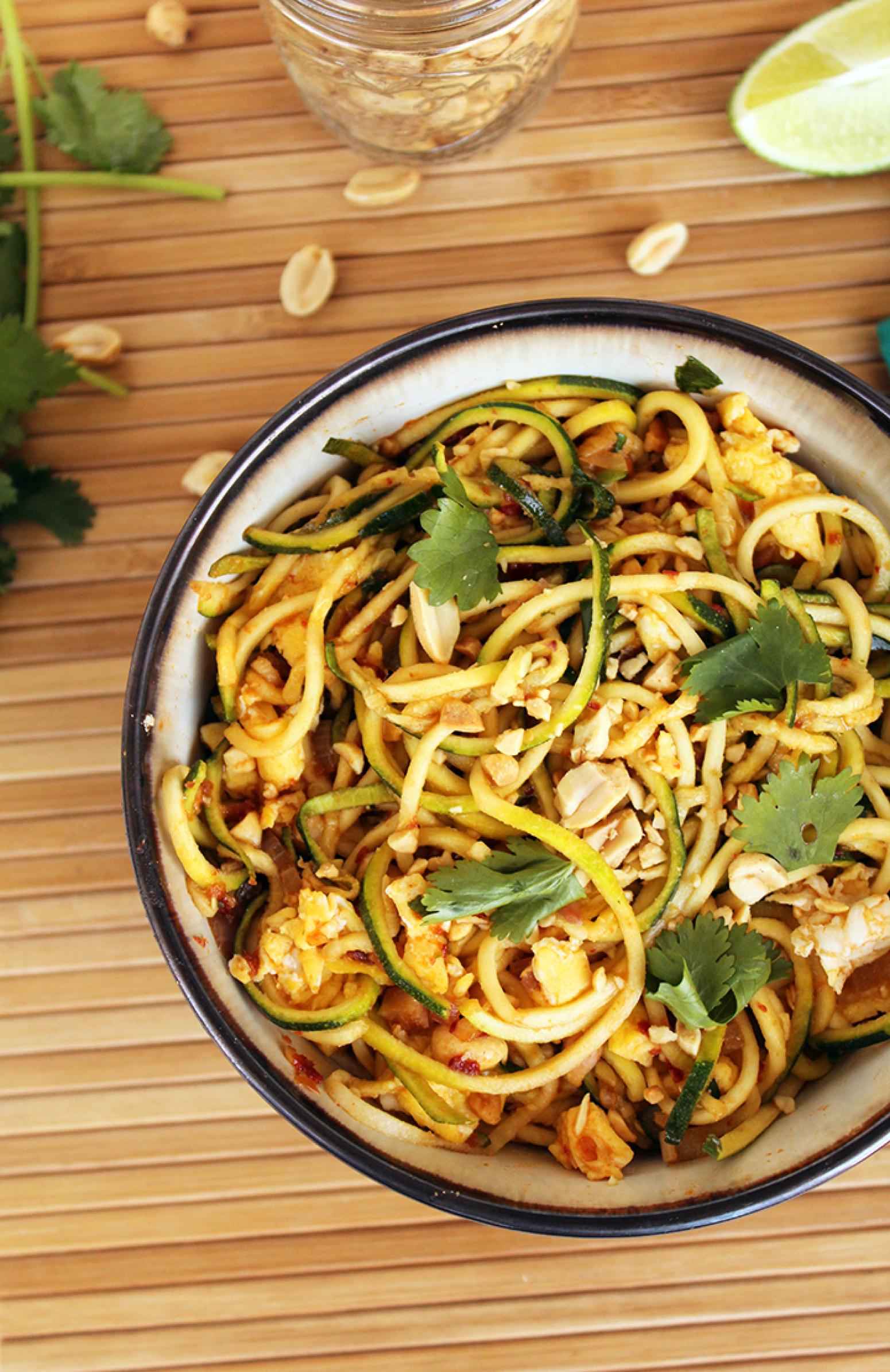 vegetarian zucchini noodle pad thai recipe just a pinch