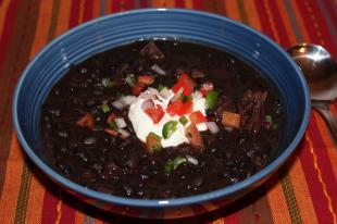 Earthy, Black Bean Soup with Fresh Relish Recipe