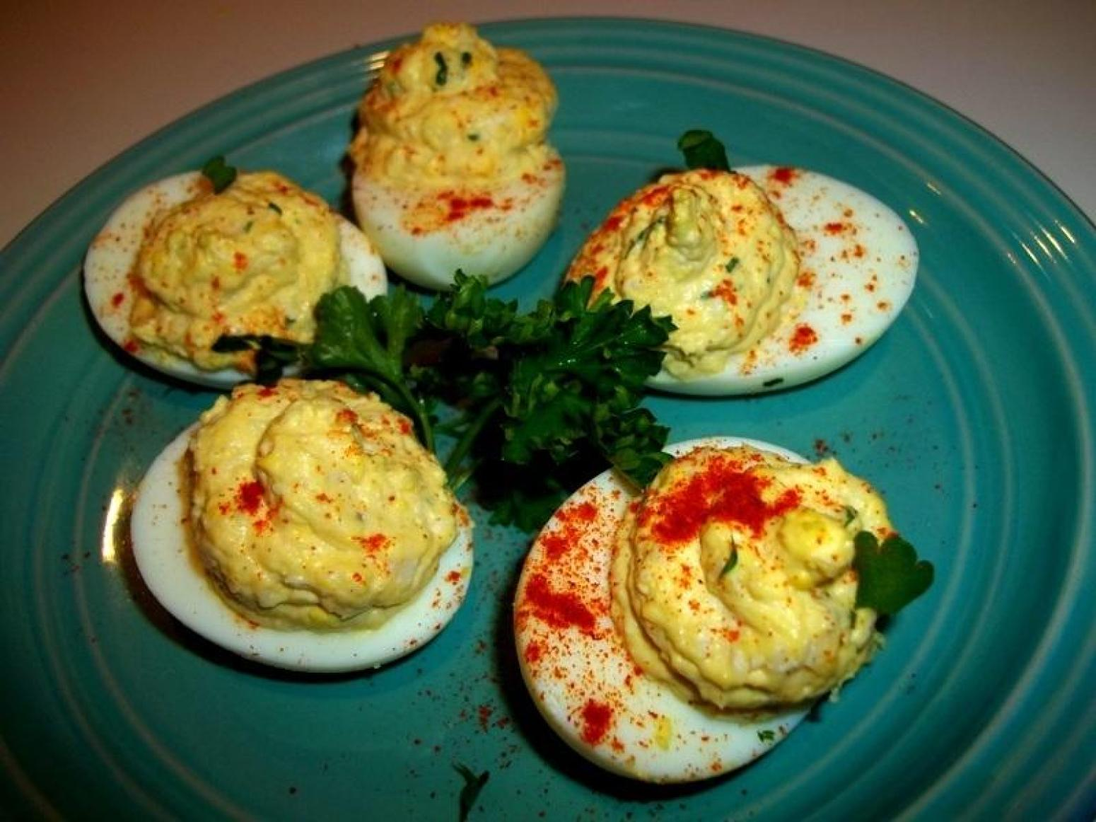 ~ Creamy Chicken Deviled Eggs ~ Recipe | Just A Pinch Recipes