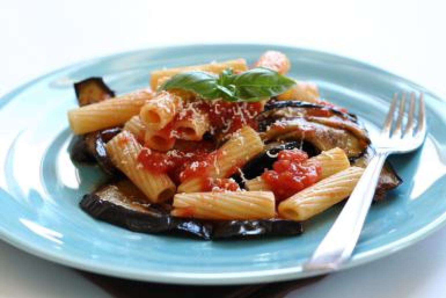 Sicilian pasta dish with fried eggplant and ricotta salata Recipe ...