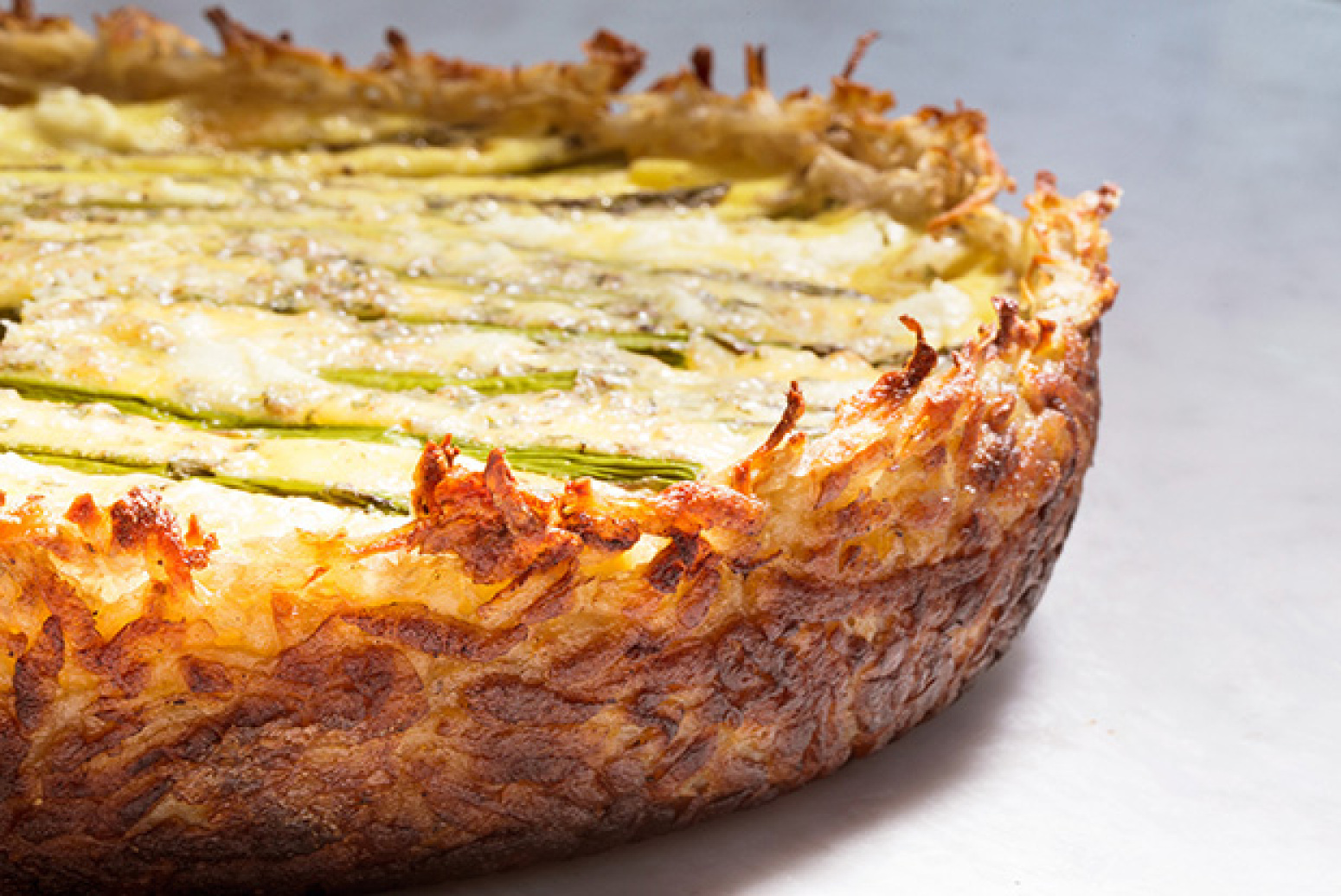 Asparagus and Two-Cheese Quiche with Hash-Brown Crust Recipe | Just A ...