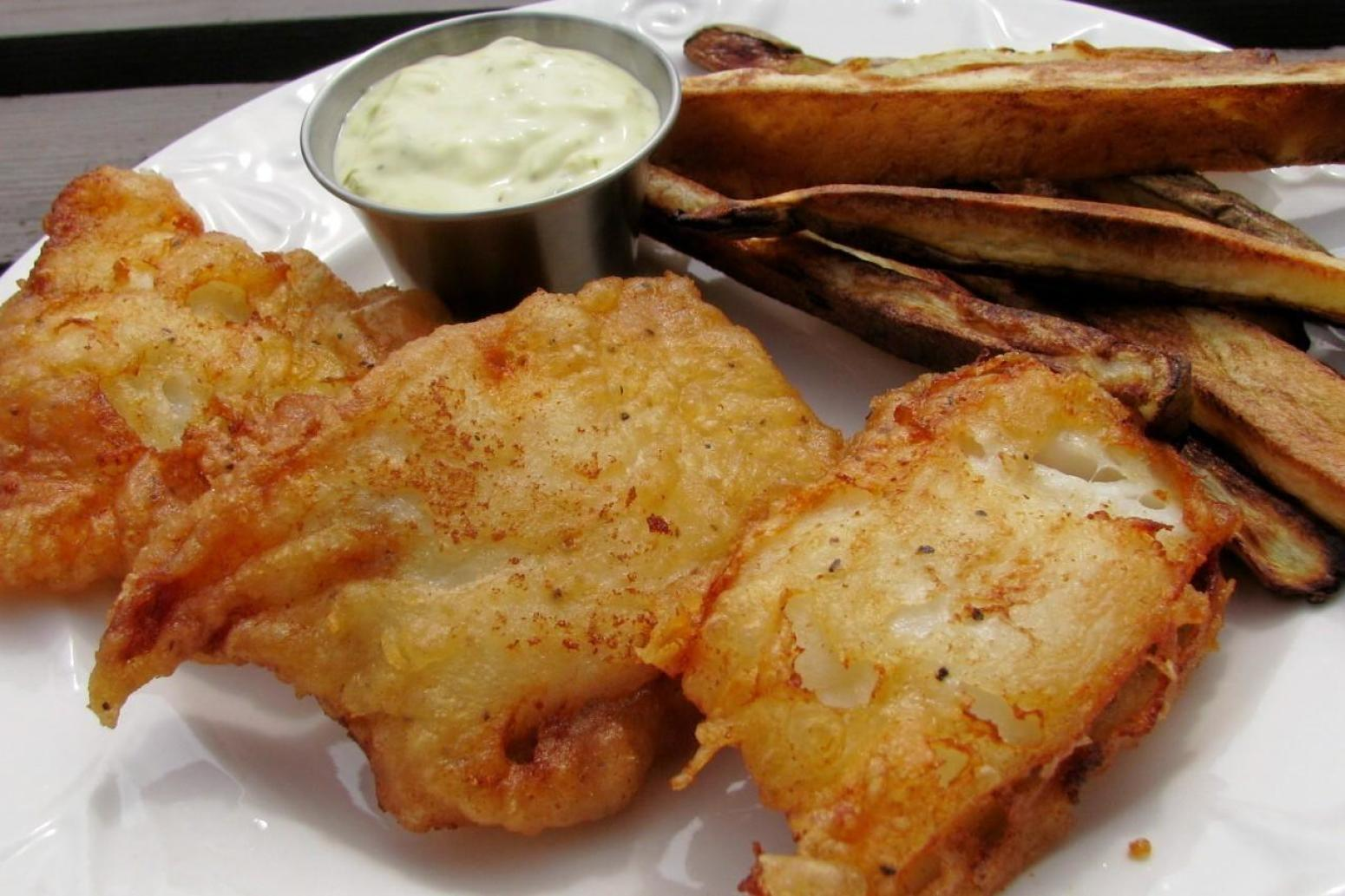 Beer battered fish and chips recipe just a pinch recipes for Fish and chips batter recipe