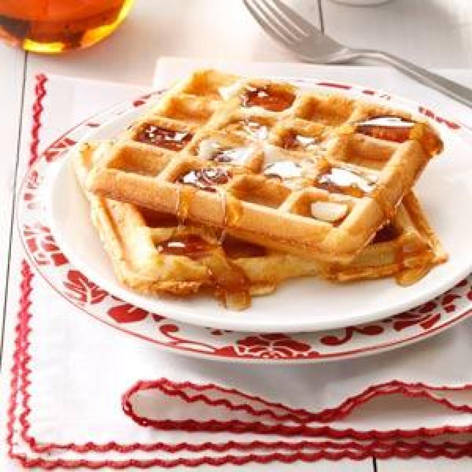 Light 'n' Crispy Waffles Recipe | Just A Pinch Recipes