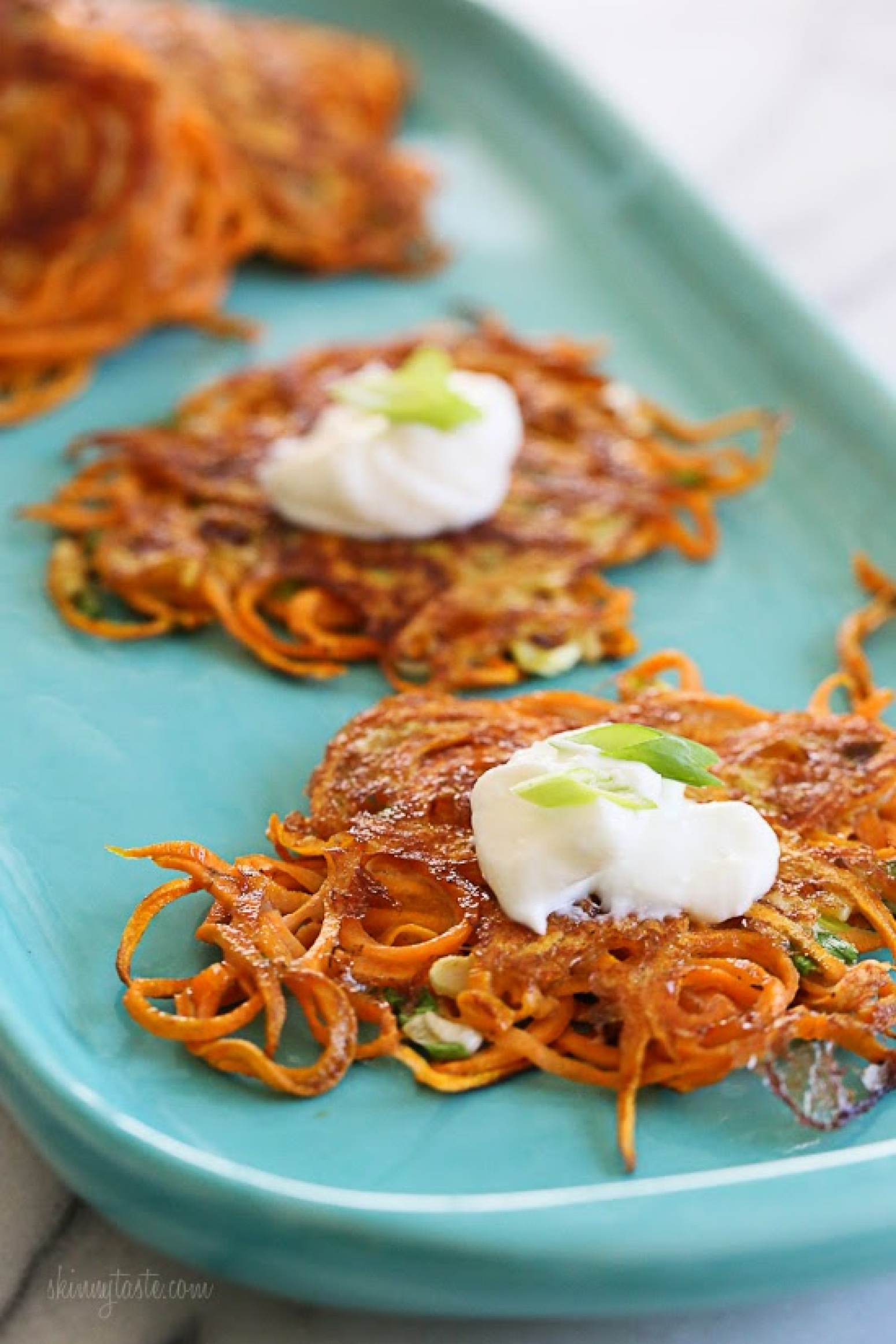 Spiralized Sweet Potato Latkes Recipe | Just A Pinch Recipes