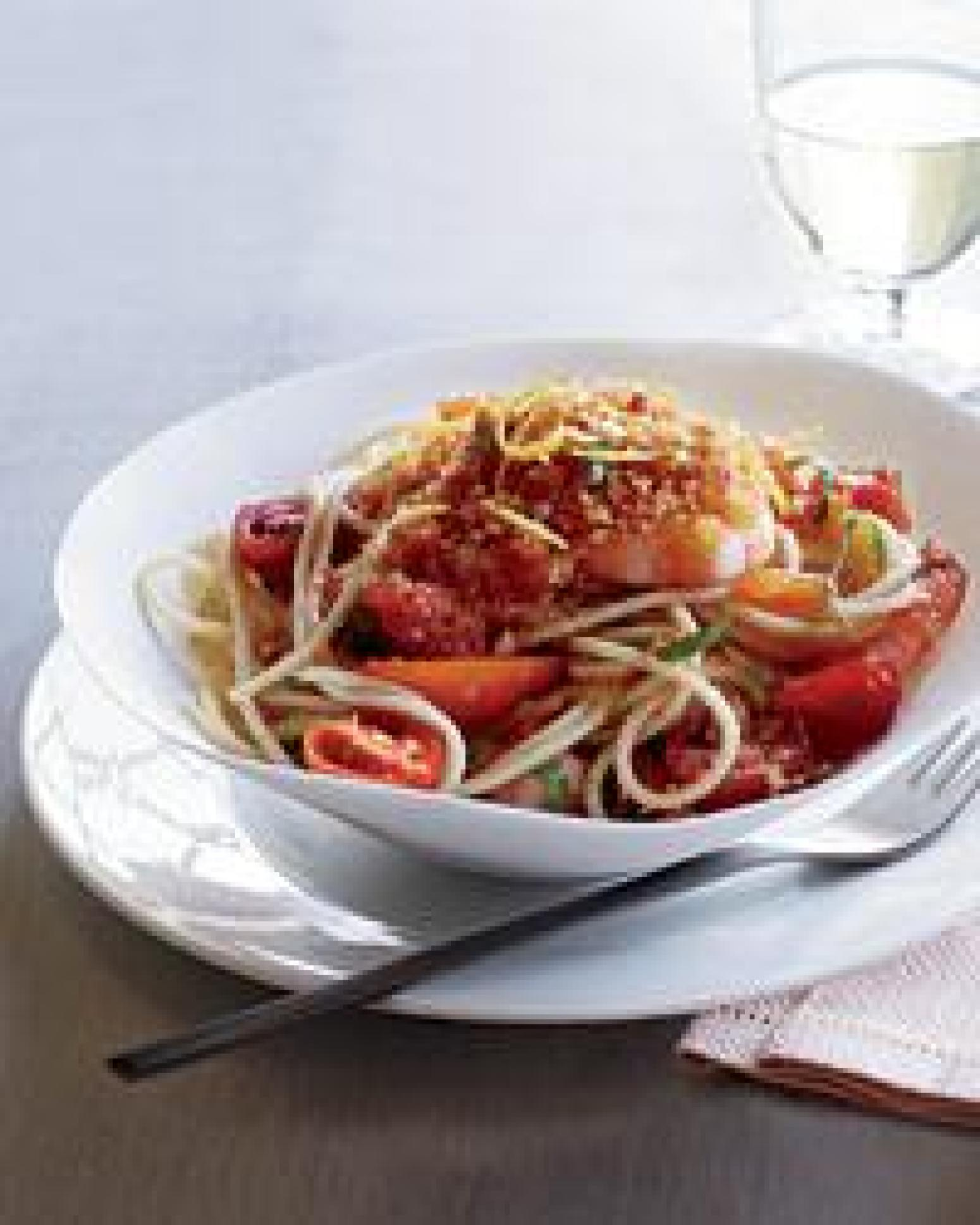 garlic and dried chile recipes dishmaps spaghettini with garlic chili ...