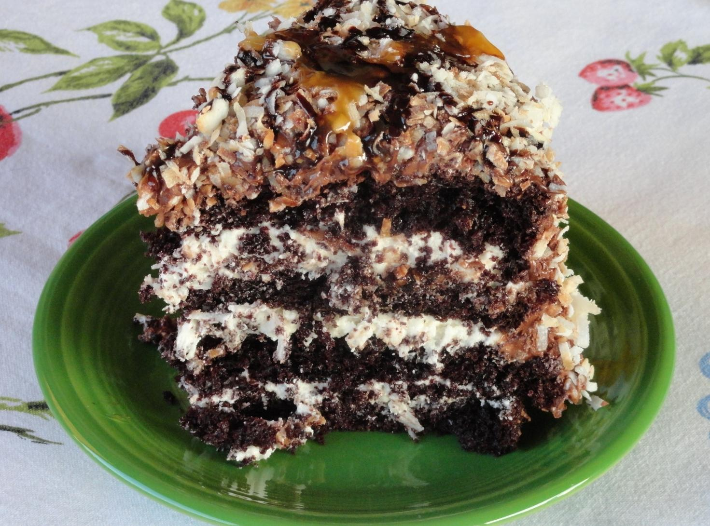 Chocolate-Caramel-Coconut Cake Recipe