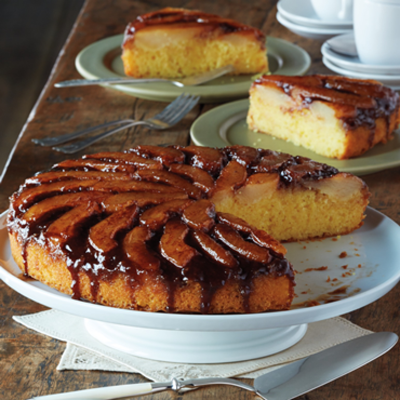Spiced Pear Upside Down Cake Recipe | Just A Pinch Recipes